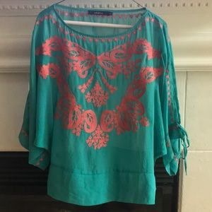 Ark & co teal and coral embroidered boho top